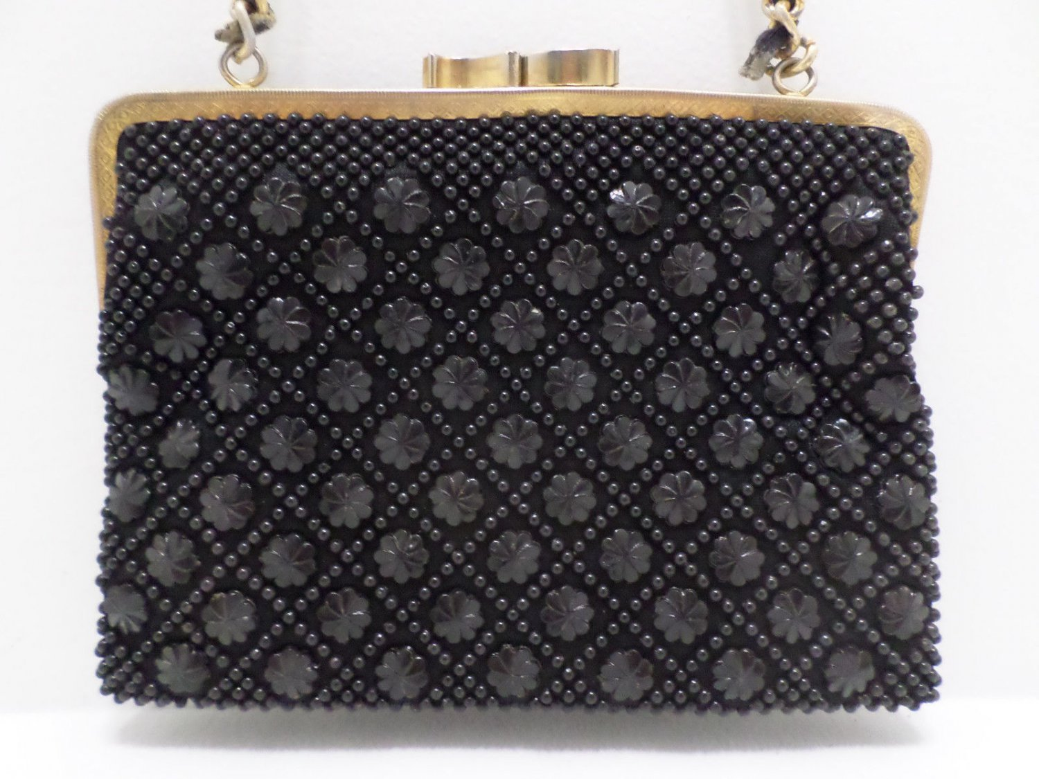 Vintage Evening Purse Black with Gold Tone Metal Chain Handle by Du Val