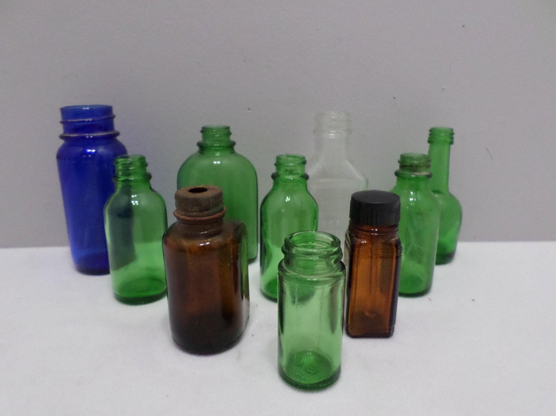 10 Antique Medicine Bottles Screw Top Cobalt Blue Green Brown Clear