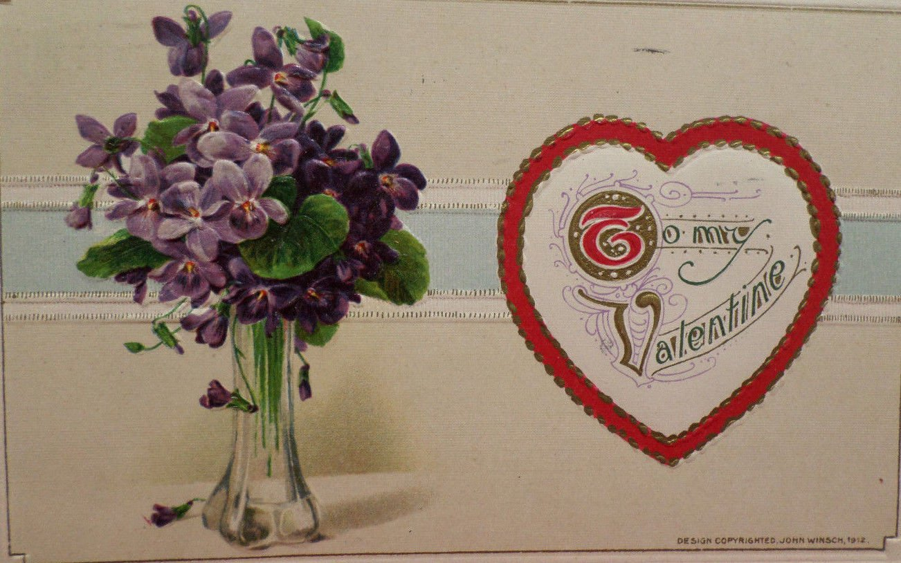Antique Valentine Postcard by John Winsch Germany  Divided and Posted 1912
