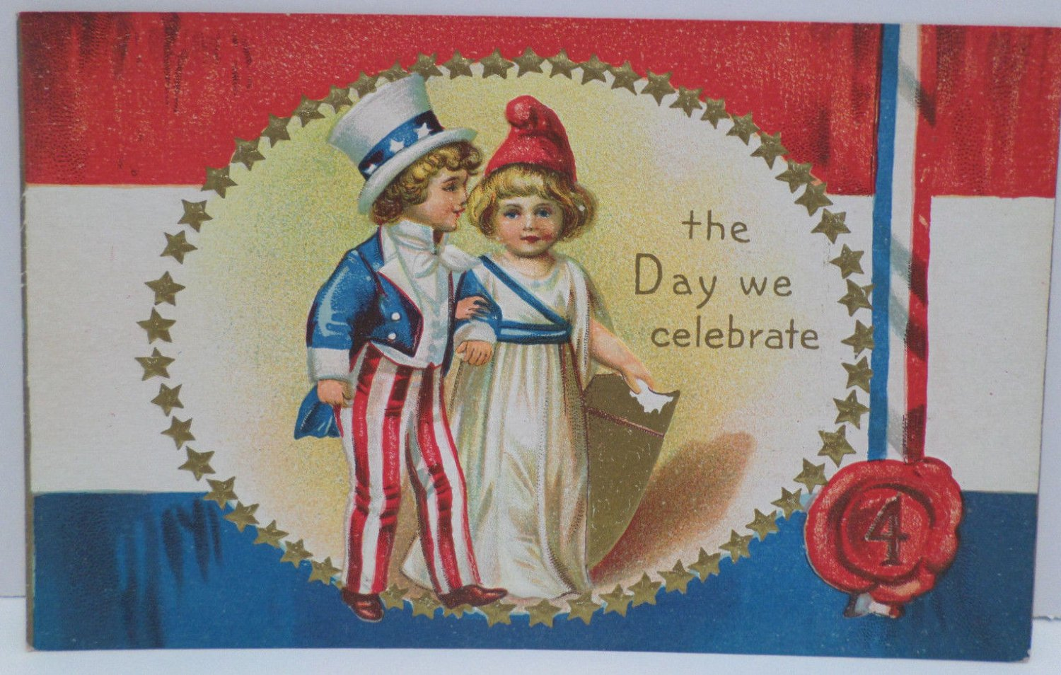 Antique Patriotic Postcard 4th of July U.S. Flag Unposted Divided