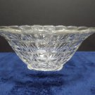 Salad Serving Bowl Clear Glass with a Frosted Fruit Pattern on the Bottom