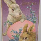Antique Easter Postcard Rabbits Egg Embossed Unposted Divided