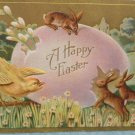 Antique Easter Postcard Rabbits Chick Egg Embossed Unposted Divided
