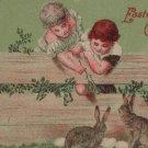 Antique Easter Postcard Children Rabbits Eggs Unposted Divided