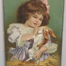 Antique Easter Postcard Rabbit Colored Eggs Embossed Unposted Divided