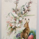 Antique Easter Postcard Rabbit Colored Eggs Posted Undivided