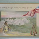 Antique Military Postcard United States Flag Embossed Unposted Divided