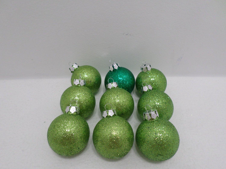 Christmas Tree Ornaments Green Glitter Plastic Bulbs Nine Pieces