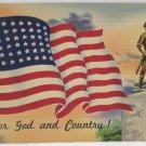 Antique Patriotic Postcard United States Flag Unposted Divided