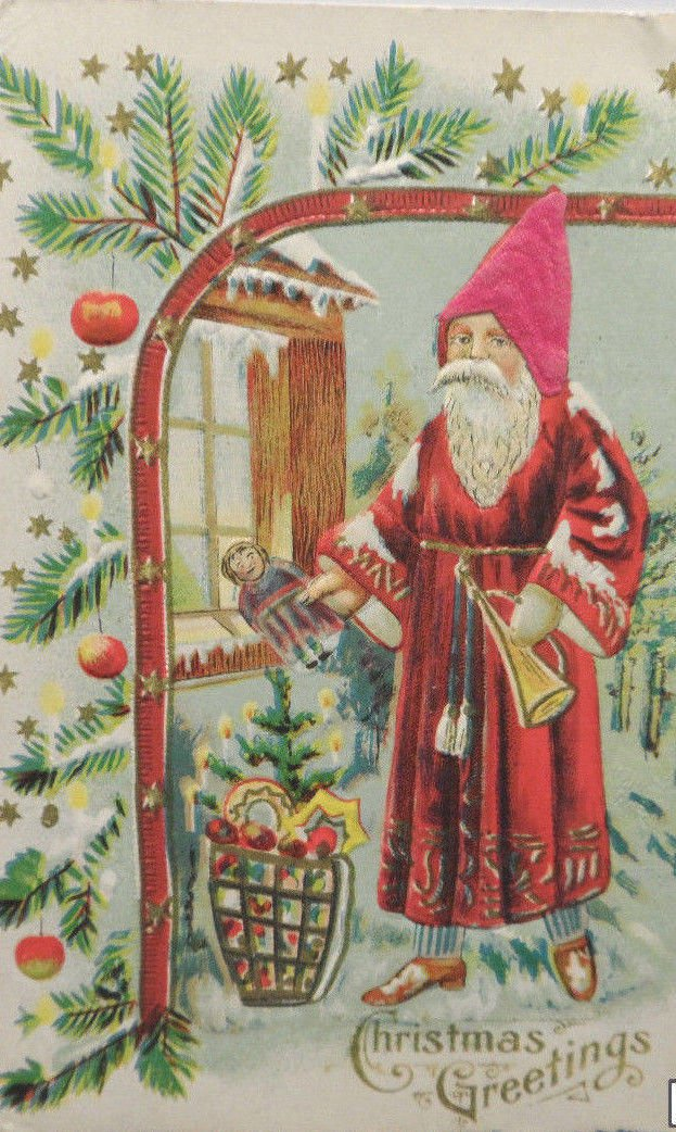 Antique Christmas Postcard Santa Claus Embossed Divided Unposted Austria