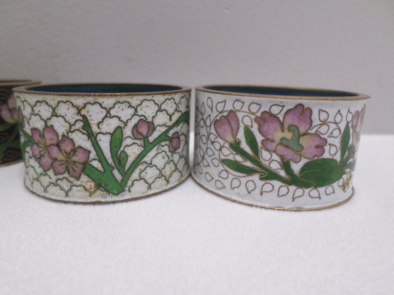 9 Vintage Napkin Rings Metal Cloisonne Floral Design