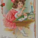 Antique Valentine Postcard Embossed Divided and Posted 1914