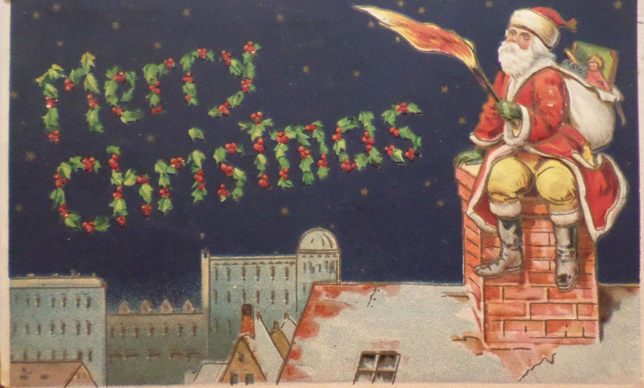 1911 Christmas Postcard Santa Claus Sitting on Chimney Posted Divided