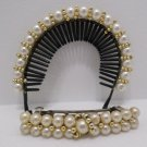 Hair Barrette and Hair Band Set with Faux White Pearls