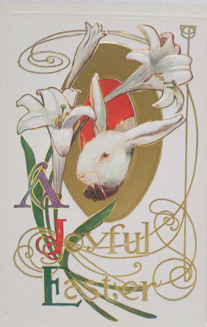 Antique Easter Postcard Rabbit Lillies Embossed Unposted Divided