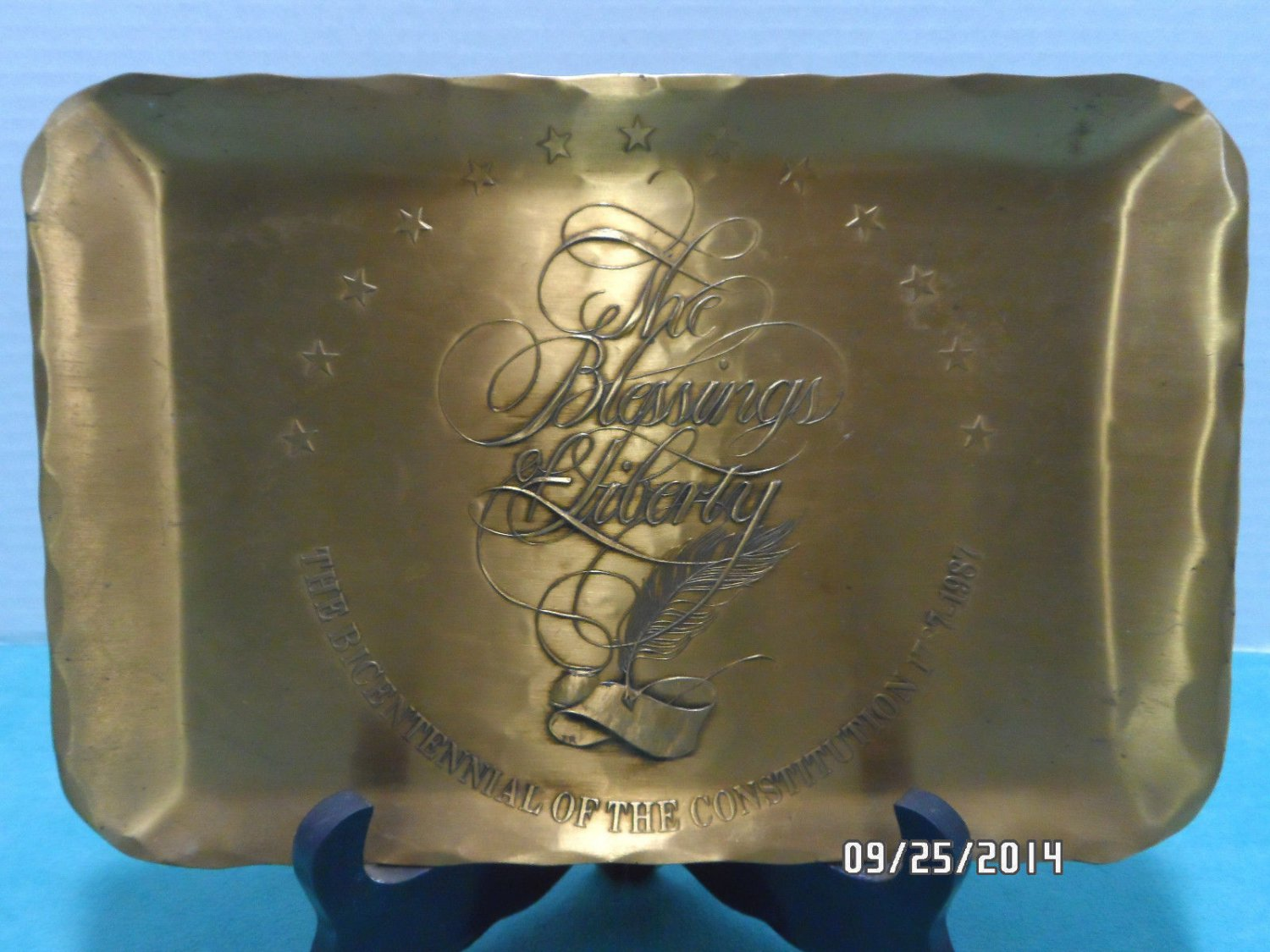 Bronze Tray Blessings of Liberty Hand Made by Natale Leesburg