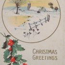 Antique Christmas postcard snowy country scene USA embossed unposted divided