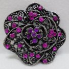 Brooch or Pin Silver Tone Metal with Purple Rhinestones