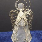 Christmas Angel Figurine Gold Tone Wire and Plastic made in the Phillippines