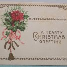 Antique Christmas Postcard Poinsettia Holly Bells Horse Shoe Posted Divided