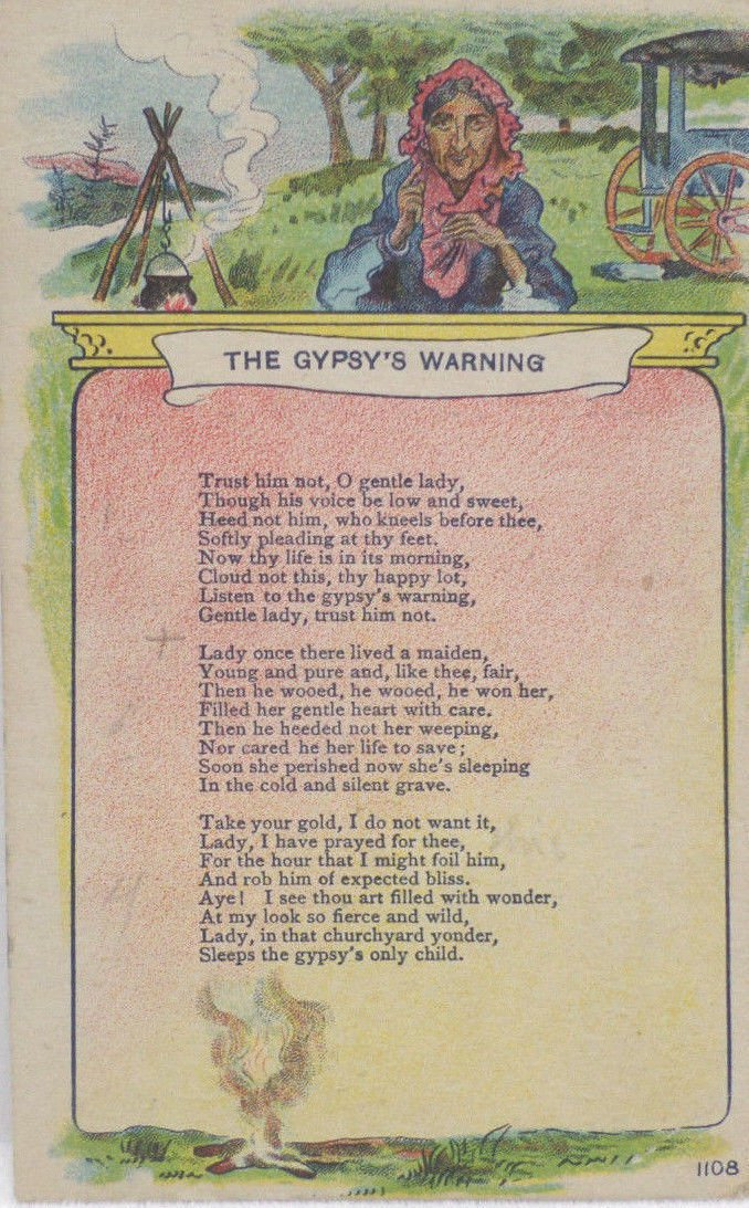 Antique Postcard The Gypsy's Warning Unposted Divided