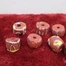 Antique African Trade Beads 9 pcs Powder Glass Red Brick  with Designs