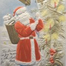 Antique Christmas Postcard Santa Claus Ringing Bells Embossed Divided Unposted