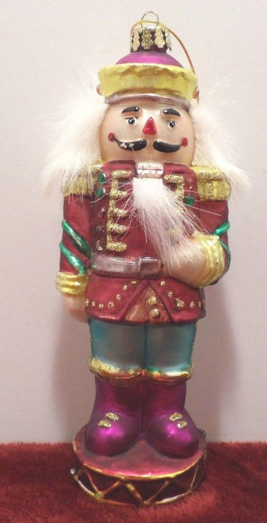 "Vintage Christmas Tree Ornament Purple Glass Nutcracker  6 1/4"" Tall"