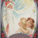 Christmas Postcard Santa Claus Embossed Posted Divided
