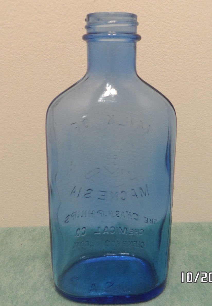 Antique Bottle Phillips Milk of Magnesia Blue Glass made in the United States