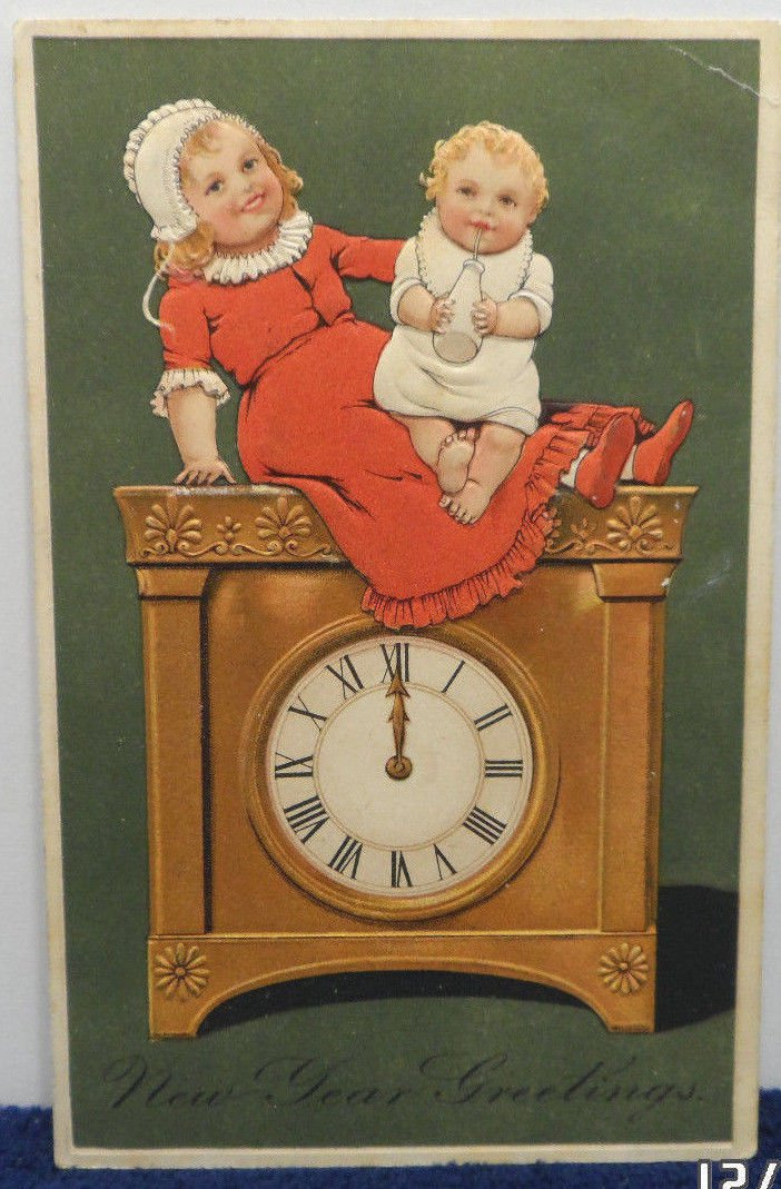 Antique New Year Postcard Girl Holding Baby on Clock Germany Divided Posted 1908