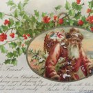 Antique 1907 Christmas Postcard Santa Claus With Toys Divided Posted