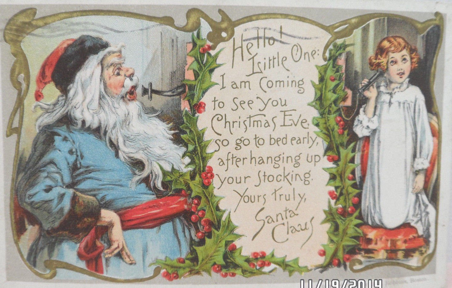 Antique 1907 Christmas Postcard Santa Claus in Blue Embossed Posted Germany