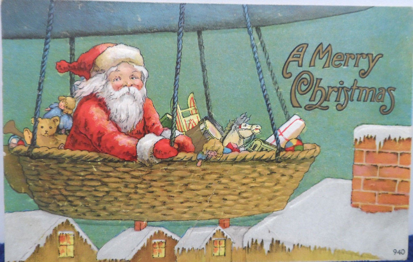Antique Christmas Postcard Santa Claus Flying a Blimp Delivering Toys Posted