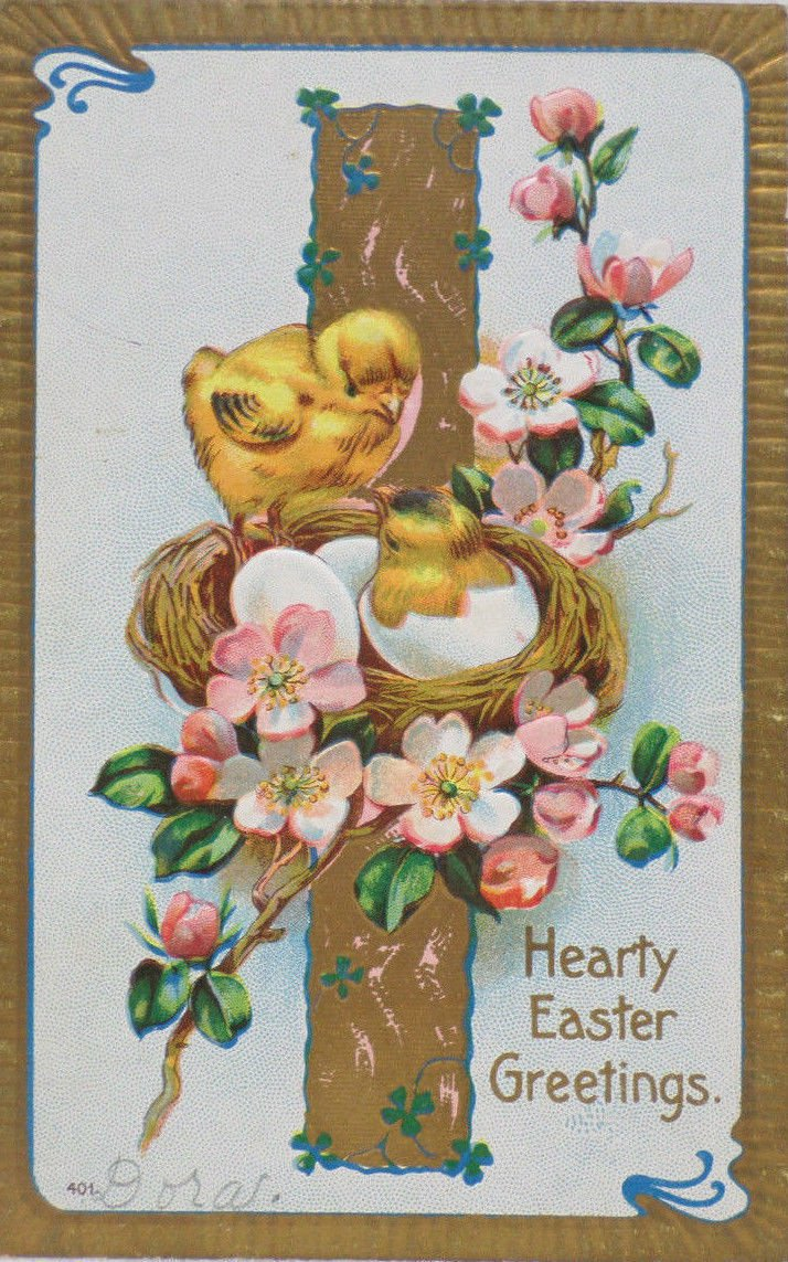 Antique Easter Postcard Chicks Hatching out of Eggs in Nest Floral Design