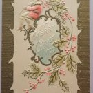 Antique 1908 Christmas Postcard Santa Claus Unposted Embossed Divided