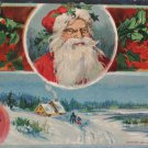 Antique Christmas postcard Santa Claus Snow Scene glossy unposted divided