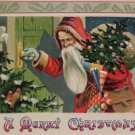 1909 Christmas postcard Santa Claus going through door with tree and presents
