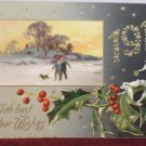 Antique New Year Postcard Holly Germany Posted Embossed Divided 1909