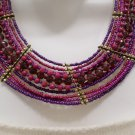 Necklace Purple Glass Seed Bead 10 Strands