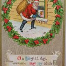 Christmas Postcard Santa Claus Climbing Through Window Embossed Posted