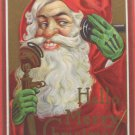 Christmas Postcard Santa Claus Wearing Green Gloves Posted Divided