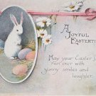 Antique Easter Postcard Rabbit Eggs Flowers Posted Divided