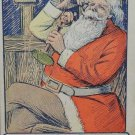 Antique Christmas Postcard Santa Claus Talking on Telephone Embossed