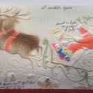 Antique Christmas Postcard Santa Claus Sleigh Embossed Undivided Posted