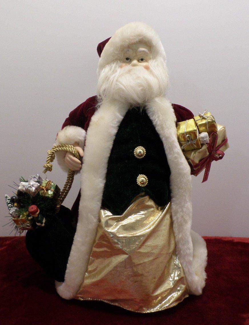 Christmas Tree Topper Bisque Santa Claus Red Velvet Suit