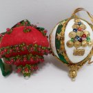 Christmas Tree Ornaments Hand Decorated with Beads and Sequins Lot of Two