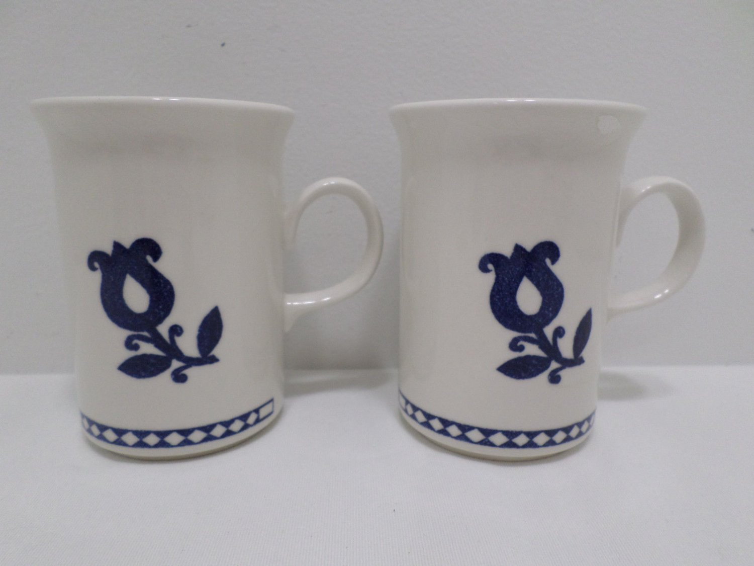 Collector Coffee Mugs  by Churchill made in England White with Blue Flower 2 pcs