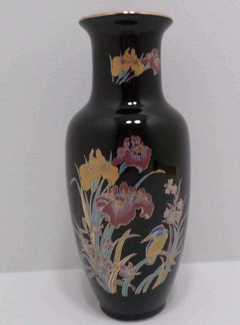 Japanese Vase Black Porcelain with Floral Design made in Japan