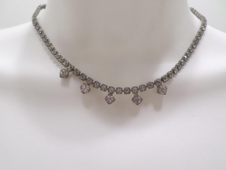 Womens Necklace Silver Tone Metal Prong Set Rhinestones